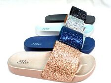 LADIES WOMENS NEW ELLA MULE SANDALS SLIP ON GLITTER RUBBER SLIDERS SIZE 3 - 8
