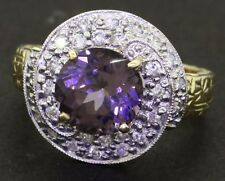 14K 2-tone gold 3.56CT diamond & purple spinel cocktail ring size 7.5