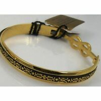 Damascene Gold Cuff Bracelet Geometric by Midas of Toledo Spain style 2081Geo
