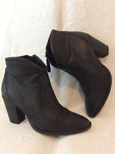 Office Black Ankle Leather Boots Size 37