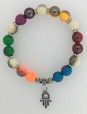 Multi Coloured Bead Stretchy Bracelet Silver Colour HAND OF FATIMA Khamsa Charm