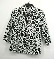 Eminent Women Black White Polka Dot Long Sleeve Button Front Casual Jacket M