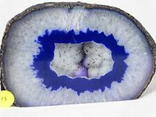 AG15 Large Agate Crystal Hollow Blue Geode Great Gift Home Art Décor 1.46KG