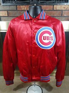 Vintage Chicago Cubs MLB Baseball Satin Snap Jacket Mens Medium Made in USA Red
