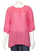 *SALE!* EILEEN FISHER Lightweight Coral Striped Relaxed Linen Tunic Blouse sz S