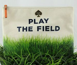 KATE SPADE Play The Field Pouch Clutch Bag Grass Canvas Fun Summer Bag Sold Out