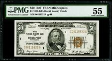 $50 1929 Federal Reserve Bank Note Minneapolis Fr#1880-I PMG 55 About UNC