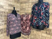 LUCKY BRAND Lot Of 3 Boho Peasant Tops Long Sleeve Prints Women's Size L