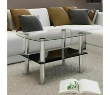 2 Tier Coffee Table Glass Rectangular Small Accent With Storage Shelf Home