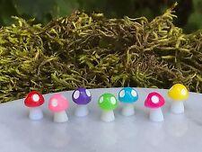 Miniature Dollhouse FAIRY GARDEN Accessories ~ 7 TINY Multi-Color Mushrooms NEW