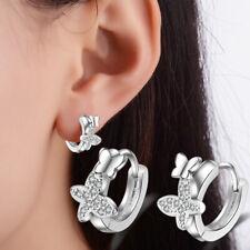 925 Sterling Silver Hoop Huggie Earrings Butterfly Shape Women Fashion Jewelry