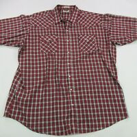 Ely Cattleman Western Pearl Snap Shirt Pockets Red Plaid 2XL L/S Cowboy