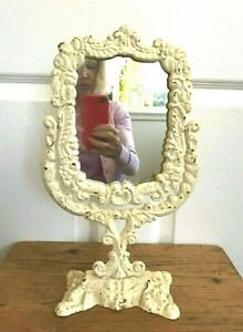 Antique Art Nouveau Cream Colored  Pedestal Swivel Standing Vanity Table Mirror