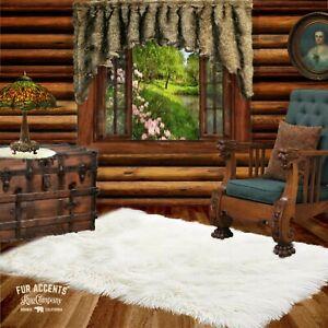 White Faux Fur Rug, Polar Bear, Accent Rug, Throw, Shag Carpet, Sheepskin, New