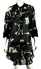 CHRISTIAN WIJNANTS Black & Chalk Abstract Print Silk Georgette Tunic Dress 38
