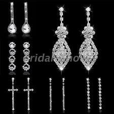 Bridal Silver Diamante Crystal Rhinestone Long Drop/Dangle Earrings Wedding Prom