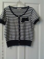 NAVY BLUE AND WHITE SHORT CARDIGAN, SIZE 12