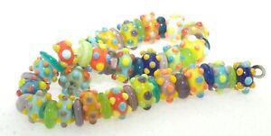 OliveStuart Handmade Lampwork Beads 49 bright tiny dots