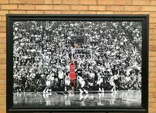 Michael Jordan MJ Last Shot NBA Chicago Bulls Wood Framed Textured Picture Print