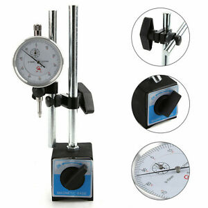 Dial Indicator Test DTI Gauge 0-10mm Double Pole Magnetic Base Adjustable UK