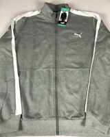 Puma Track Jacket Mens XL Gray White NEW Full Zip Pockets Gym Athletic Breathers