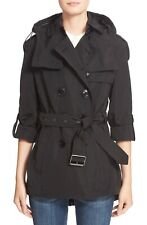 Burberry Knightsdale Belted Hooded Rain Pea coat jacket Trench Black 2 4 xs $895