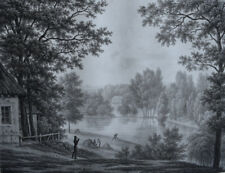 MORTEFONTAINE Vue Grand Parc LANGLUME LITHOGRAPHIE d apres GUERARD Gravure 1830