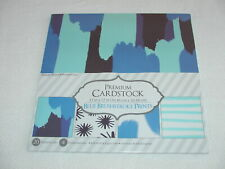 FOUR PATTERNS FIVE SHEETS EACH BLUE BRUSHSTROKE CARDSTOCK - 12 X 12 INCHES