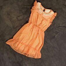 Soprano Nordstroms Girls Orange Chiffon Dress Size SEE Photos Peter Pan Collar