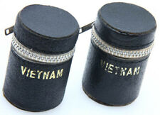 pair of 35mm Faux Leather Film Holder Case Black Zipper Vintage Vietnam 387865