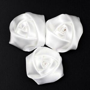 5CM satin ribbon rose flowers artificial diamond applique wedding decor party