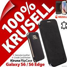 Krusell Kiruna Vrai Cuir Pliant pour Housse Samsung Galaxy S6/S6 Edge