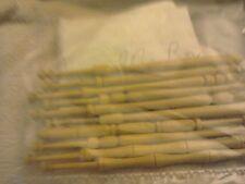 Ten Vintage Amarello Box Wood Lace Bobbins - Hand Turned