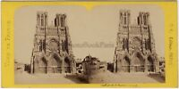 Cathéfrale Da Reims Francia Foto Stereo BK Parigi Vintage Albumina Ca 1870