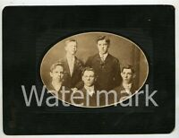 Cabinet Photo Five Young Men by Brinkmier's Studio Moundsville West Virginia WV