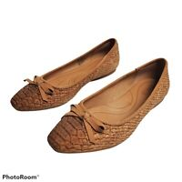 Women's Born Carri Ballet Flats Shoes Size 6M Red Brown Cork Casual Slip On