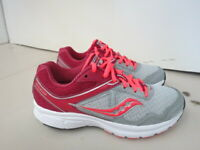 WOMENS SAUCONY GRID COHESION 10 GRAY WHITE BURGUNDY RUNNING SHOES SIZE 7.5M A294