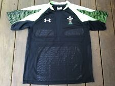 UNDER ARMOUR WRU Wales Rugby Union Mens Large Shirt Black/Bright Green