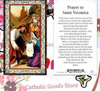 St. Veronica with Prayer to Saint Veronica  -Gold Trim - Paperstock Holy Card
