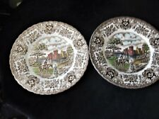 PAIR VINTAGE TINTED SIDE PLATES RIPPLE RIM BRITISH ANCHOR OLDE COUNTRY CASTLES