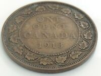 1913 Canada One 1 Cent Copper Large Penny Canadian George V Circulated Coin J866