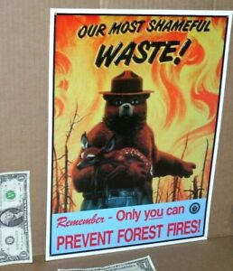 SMOKEY THE BEAR -- Saving Deer From FOREST FIRE -- Embossed Tin Metal Sign -NICE