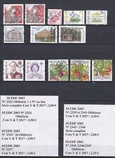 13 timbres oblitérés de SUEDE dont 2 séries complètes DE 2003 bon état