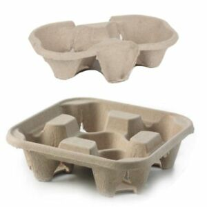 4 Cup & 2 Cup Drink Cup Carrier, Cup Holder, Cup Carry Tray Biodegradable Pulp