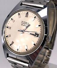 Titan 35,5mm Vintage Watch Funzionante Hand Manual Winding Date Orologio Corda