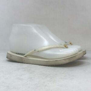 Tory Burch Womens White Flip Flop Sandals Lightweight Flat Slip On Size 6.5