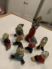 More details for vintage snow white dwarfs painted solid bronze metal toy figures c1930s disney