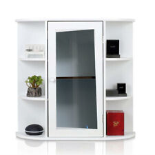 Bathroom Wall Mounted Cabinet Cupboard Glass Door MDF Shelf Storage Unit White