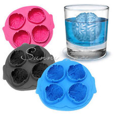 3D Silicone Scary Ice Cube Maker Jelly Mold Brain Shape Drinking Practical UK