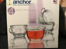 Anchor Punch Set ( 4 ) 7 oz Cups, Planet Earth, Floral  Embossed Savannah Glass